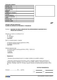 Podnosilac zahtjeva: - Općina Centar