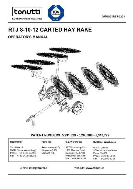 RTJ 8-10-12 CARTED HAY RAKE - Edney Distributing Co  Inc