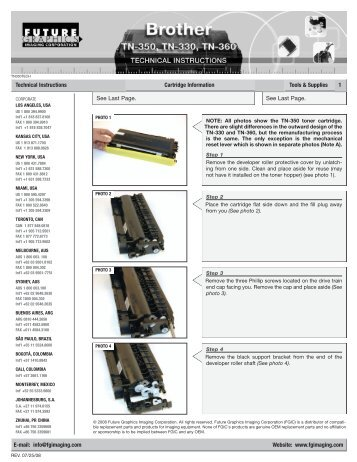 Technical Instructions Cartridge Information Tools & Supplies 1