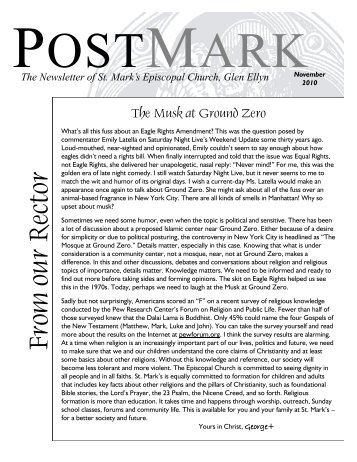 November 2010 Postmark - St. Mark's Episcopal Church