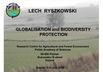 Globalisation and Biodiversity Protection - Global Ecological ...