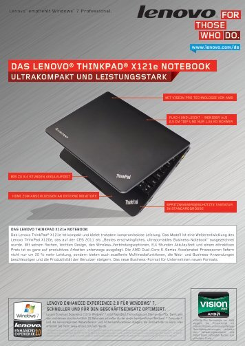 DAS LENOVO® THINKPAD® X121e NOTEBOOK - Lenovo Partner ...