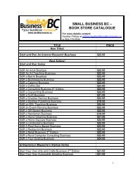 SMALL BUSINESS BC – BOOK STORE CATALOGUE