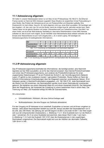 11.1 Adressierung allgemein 11.2 IP-Adressierung ... - pasquay.net
