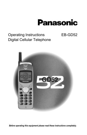 Operating Instructions EB-GD52 Digital Cellular ... - Telekomunikacije