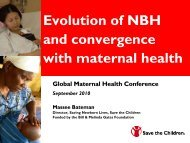 Evolution of NBH and convergence with maternal health - Healthy ...