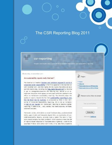 The CSR Reporting Blog 2011 - Beyond Business