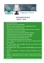 30 DE MAIO DE 2012 Quarta – feira - Sindimetal/PR