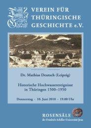 Dr. Mathias Deutsch - Verein für Thüringische Geschichte