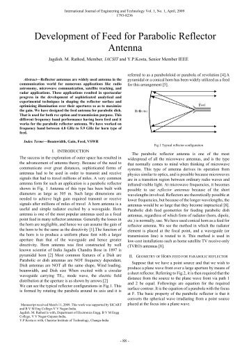 Development of Feed for Parabolic Reflector Antenna - IJET