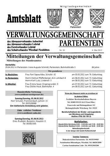 Mitteilungen der Verwaltungsgemeinschaft - Partenstein