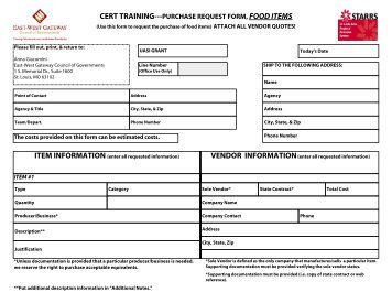 CERT TRAINING   PURCHASE REQUEST FORM, FOOD ITEMS