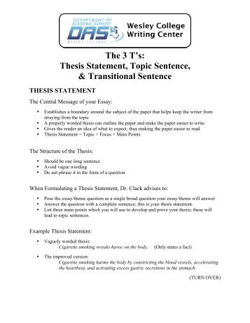 Thesis Statement, Topic Sentence, & Transitional ... - Wesley College