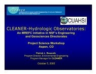 CLEANER-Hydrologic Observatories: - Project Science