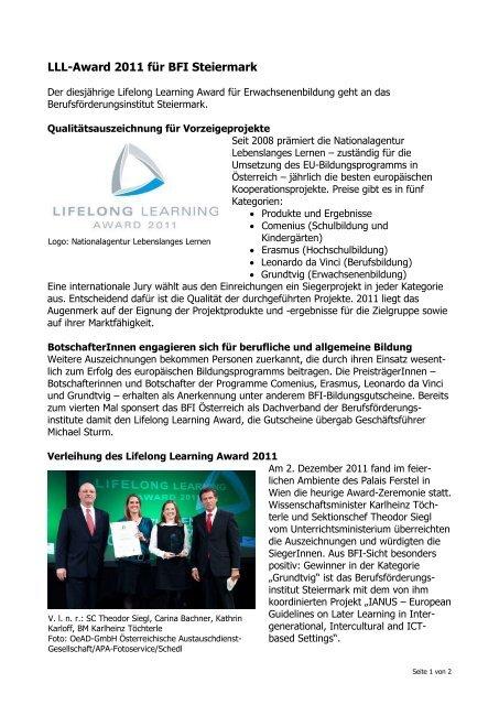 bfi Steiermark gewinnt LLL-Award 2011