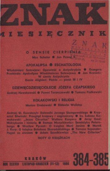 Nr 384-385, listopad-grudzień 1986 - Znak