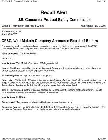 Warranty Cast Iron Gas Residential (LGB) - Weil-McLain