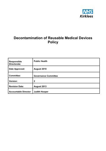 Decontamination of Reusable Medical Devices Policy - NHS Kirklees