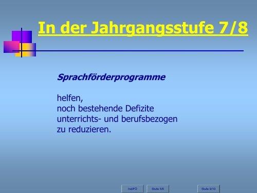 In der Jahrgangsstufe 7/8 - Stiftung Partner für Schule NRW