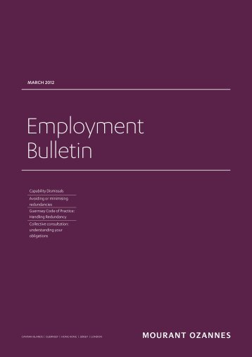 Employment Bulletin, March 2012 - Mourant Ozannes