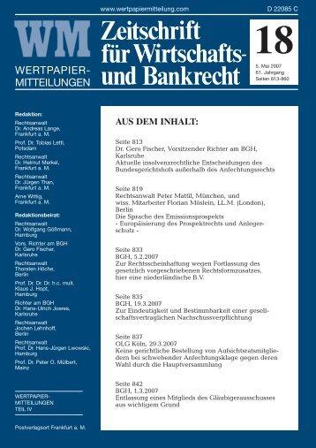Titel_Recht 18 - WM Wirtschafts- und Bankrecht