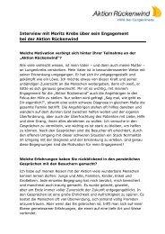 Interview mit Moritz Krebs über sein Engagement bei der Aktion ...