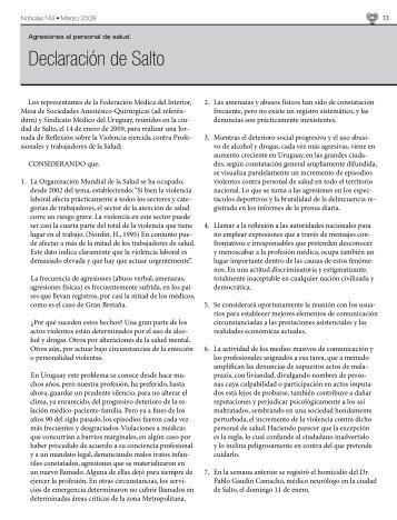 Declaración de Salto - Sindicato Médico del Uruguay