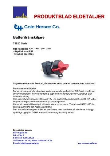 PDF Batterifrånskiljare HD - Euro Equip AB
