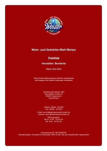 Preisliste für Hersteller: Bonfante - und Getränke-Welt Weiser
