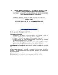 ACTUALIZADOS AL 31 DE DICIEMBRE DE 2009 - Municipalidad ...