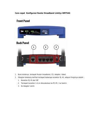 Cara cepat Konfigurasi Router Broadband LinkSys WRT54G 1 2 3