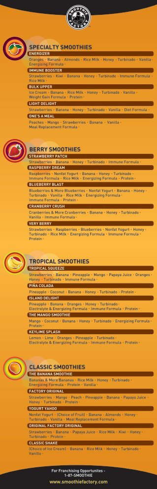 classic smoothies tropical smoothies berry smoothies specialty ...