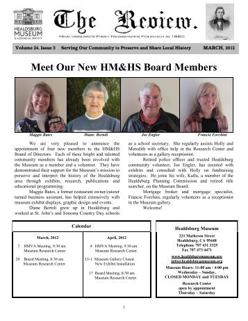 Meet Our New HM&HS Board Members - Healdsburg Museum and ...