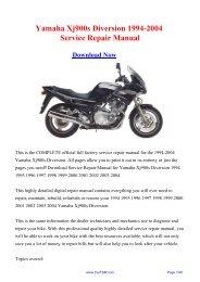 Yamaha Xvs 650 Dragstar 1997 2004 Service Repair Manual