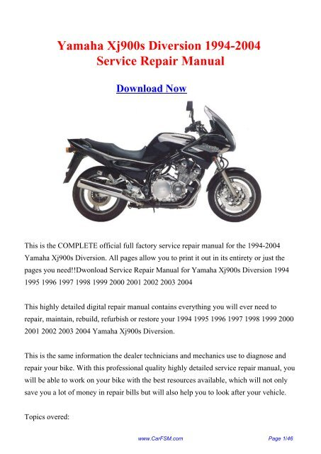 Yamaha Xj900s Diversion 1994 2004 Service Repair Carfsm Com