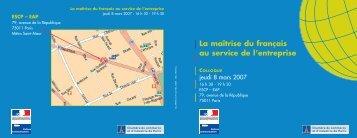 La maîtrise du français au service de l'entreprise - Délégation ...