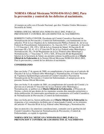 NORMA Oficial Mexicana NOM-034-SSA2-2002, Para la prevención ...