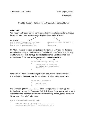 Frau Engels Objekte, Klassen – Teil 3, neu: Methoden ... - ZAIK