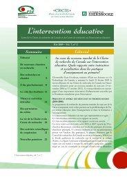Vol. 7 no. 2 - Centre de recherche sur l'intervention éducative (CRIE)