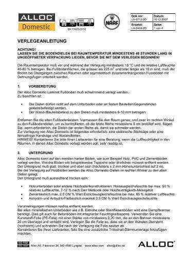 VERLEGEANLEITUNG - Parkett-Store24