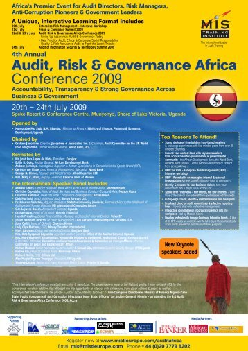 Audit, Risk & Governance Africa Conference 2009 - MIS Training