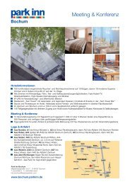 INFORMATIONS SHEET PARK INN BOCHUM