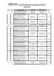 CLASSIFICAÇÃO FINAL INICIAÇÃO CIENTÍFICA 2013/2014 - USC