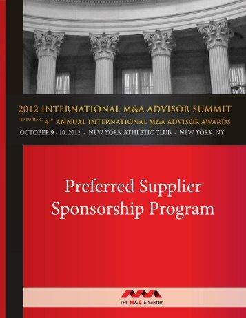 II. 2012 INTERNATIONAL M&A SUMMIT AND AWARDS GALA