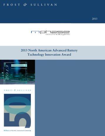 2013 North American Advanced Battery Technology Innovation ...