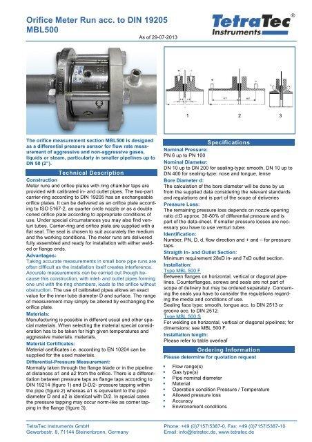 Data sheet MBL500 - TetraTec Instruments GmbH