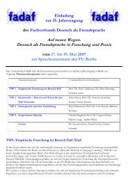 Auf neuen Wegen. Deutsch als Fremdsprache in ... - Fachverband DaF