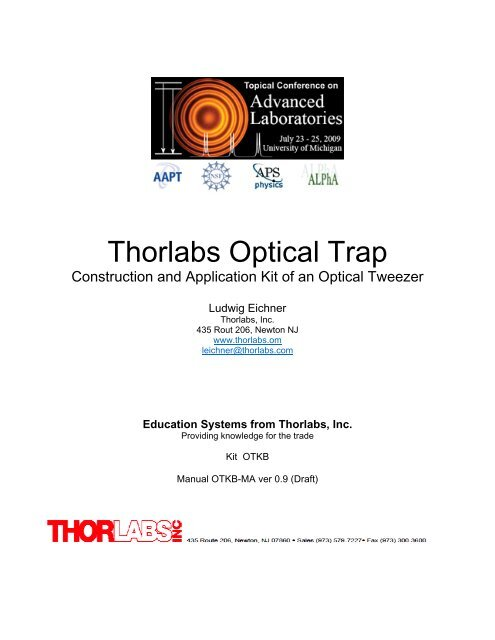 Thorlabs Optical Trap - comPADRE