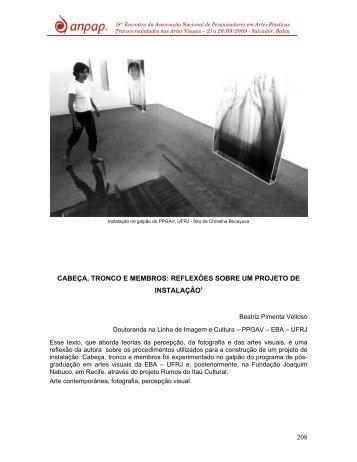 cabeça, tronco e membros: reflexões sobre um projeto de ... - anpap