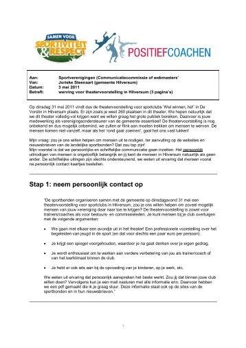 Stap 1: neem persoonlijk contact op - Wasmeer
